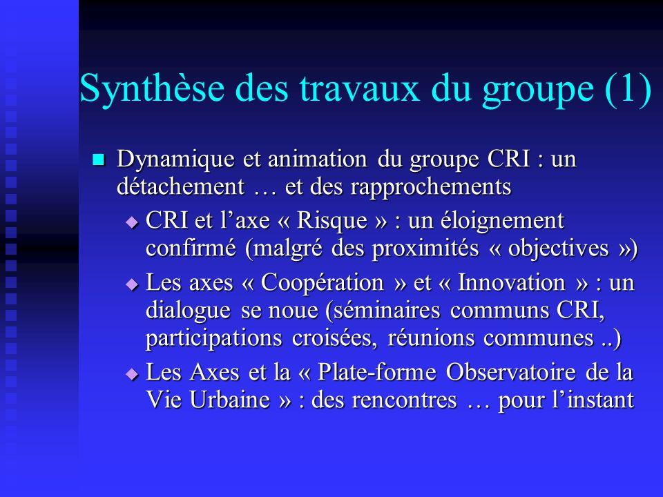 Synthèse des travaux du groupe (1) Dynamique et animation du groupe CRI : un détachement … et des rapprochements Dynamique et animation du groupe CRI : un détachement … et des rapprochements CRI et laxe « Risque » : un éloignement confirmé (malgré des proximités « objectives ») CRI et laxe « Risque » : un éloignement confirmé (malgré des proximités « objectives ») Les axes « Coopération » et « Innovation » : un dialogue se noue (séminaires communs CRI, participations croisées, réunions communes..) Les axes « Coopération » et « Innovation » : un dialogue se noue (séminaires communs CRI, participations croisées, réunions communes..) Les Axes et la « Plate-forme Observatoire de la Vie Urbaine » : des rencontres … pour linstant Les Axes et la « Plate-forme Observatoire de la Vie Urbaine » : des rencontres … pour linstant