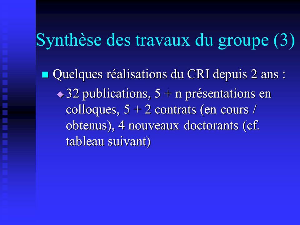 Synthèse des travaux du groupe (3) Quelques réalisations du CRI depuis 2 ans : Quelques réalisations du CRI depuis 2 ans : 32 publications, 5 + n présentations en colloques, 5 + 2 contrats (en cours / obtenus), 4 nouveaux doctorants (cf.