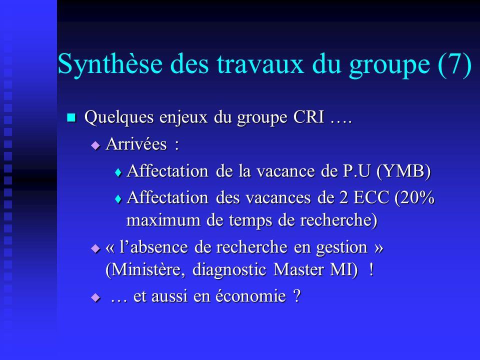 Synthèse des travaux du groupe (7) Quelques enjeux du groupe CRI …. Quelques enjeux du groupe CRI …. Arrivées : Arrivées : Affectation de la vacance d
