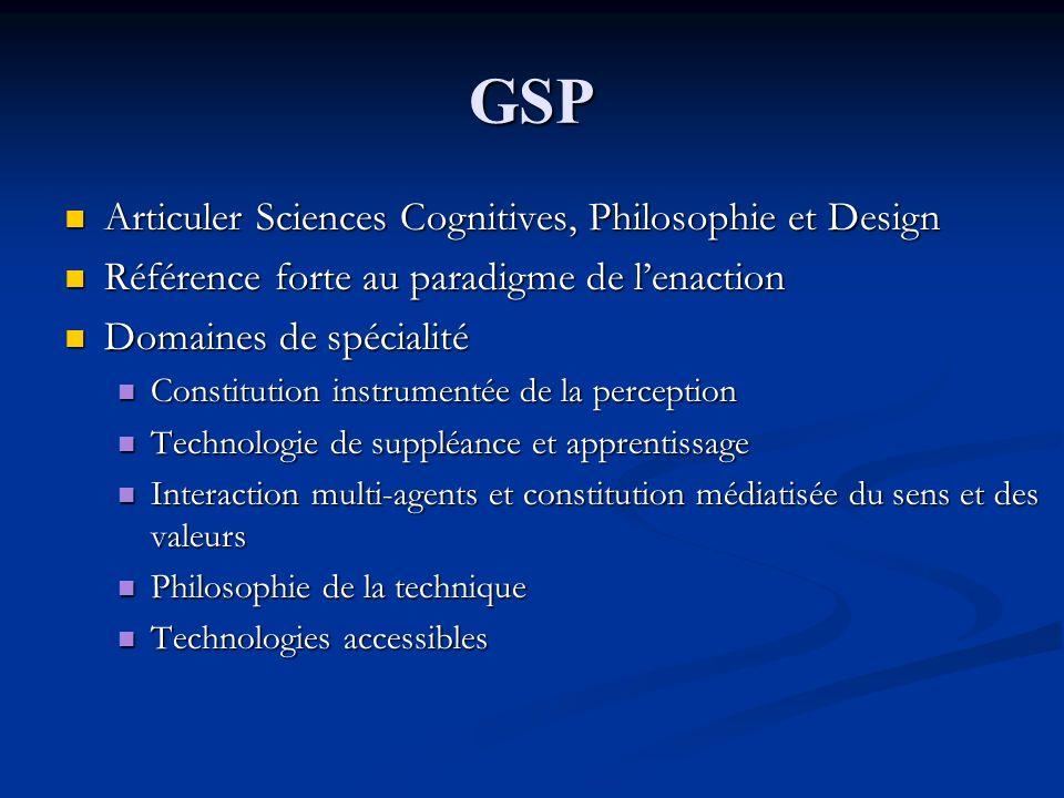 GSP Articuler Sciences Cognitives, Philosophie et Design Articuler Sciences Cognitives, Philosophie et Design Référence forte au paradigme de lenactio
