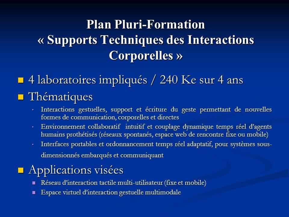 Plan Pluri-Formation « Supports Techniques des Interactions Corporelles » 4 laboratoires impliqués / 240 Ke sur 4 ans 4 laboratoires impliqués / 240 K