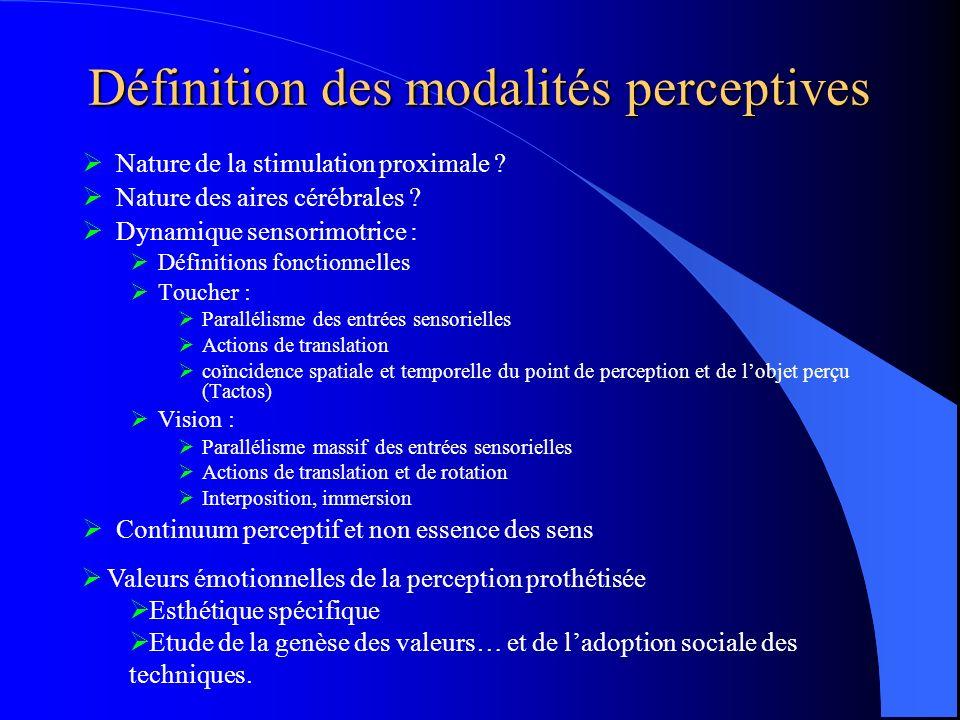 Définition des modalités perceptives Nature de la stimulation proximale .