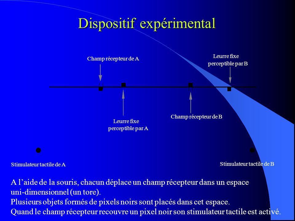 Dispositif expérimental Champ récepteur de A Leurre fixe perceptible par A Champ récepteur de B Leurre fixe perceptible par B Stimulateur tactile de A Stimulateur tactile de B A laide de la souris, chacun déplace un champ récepteur dans un espace uni-dimensionnel (un tore).