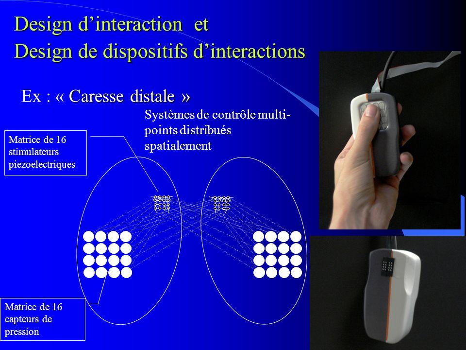 Matrice de 16 stimulateurs piezoelectriques Matrice de 16 capteurs de pression Caresse distale » Ex : « Caresse distale » Systèmes de contrôle multi- points distribués spatialement Design dinteraction et Design de dispositifs dinteractions