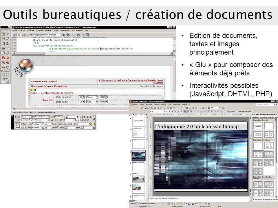 Outils bureautiques / création de documents Edition de documents, textes et images principalement « Glu » pour composer des éléments déjà prêts Intera