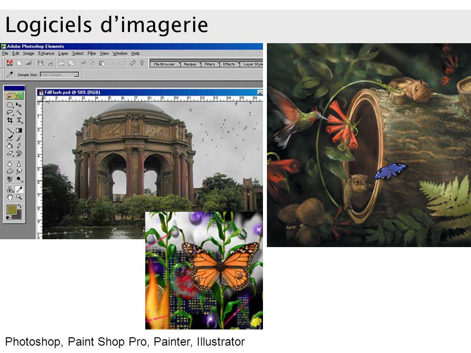 Logiciels dimagerie Photoshop, Paint Shop Pro, Painter, Illustrator