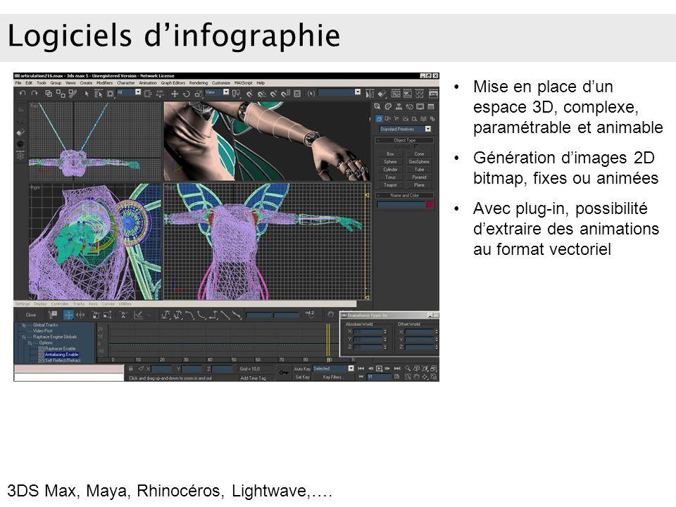Logiciels dinfographie Mise en place dun espace 3D, complexe, paramétrable et animable Génération dimages 2D bitmap, fixes ou animées Avec plug-in, po