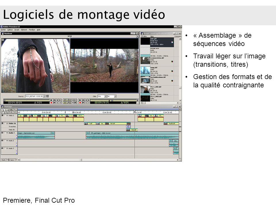 Logiciels de montage vidéo « Assemblage » de séquences vidéo Travail léger sur limage (transitions, titres) Gestion des formats et de la qualité contr