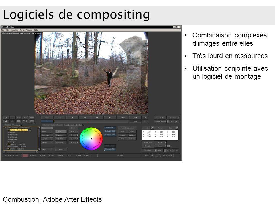 Logiciels de compositing Combinaison complexes dimages entre elles Très lourd en ressources Utilisation conjointe avec un logiciel de montage Combusti