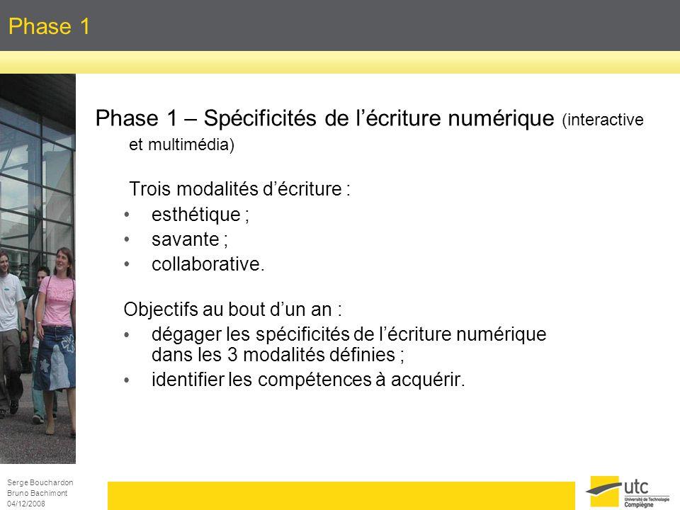Serge Bouchardon Bruno Bachimont 04/12/2008 Phase 1 Phase 1 – Spécificités de lécriture numérique (interactive et multimédia) Trois modalités décritur