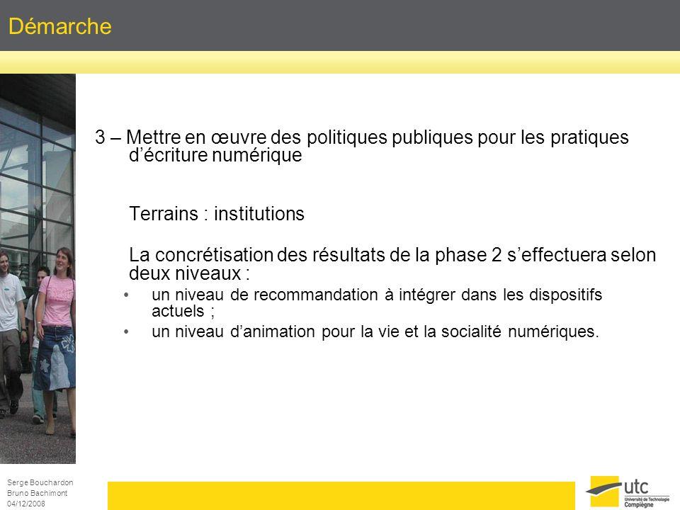 Serge Bouchardon Bruno Bachimont 04/12/2008 Démarche 3 – Mettre en œuvre des politiques publiques pour les pratiques décriture numérique Terrains : in