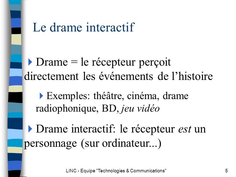 LINC - Equipe Technologies & Communications 26 Architecture Monde de lhistoire Logique Narrative Modèle utilisateur Séquenceur narratif Théâtre