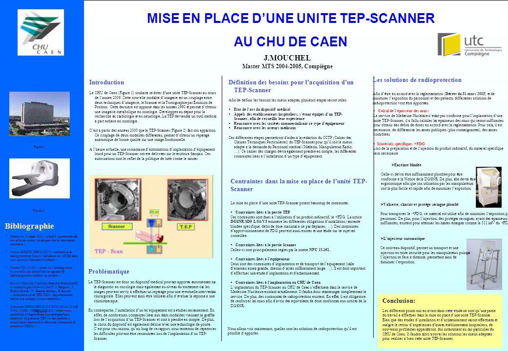MISE EN PLACE DUNE UNITE TEP-SCANNER AU CHU DE CAEN J.MOUCHEL Master MTS 2004-2005, Compiègne Contraintes dans la mise en place de lunité TEP- Scanner
