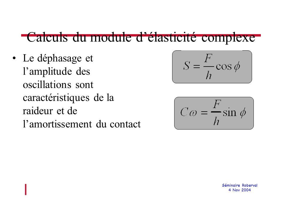 l Séminaire Roberval 4 Nov 2004 Calculs du module délasticité complexe Le déphasage et lamplitude des oscillations sont caractéristiques de la raideur et de lamortissement du contact