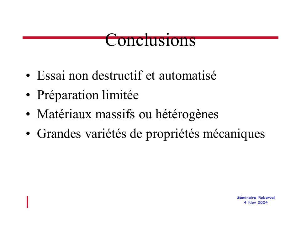 l Séminaire Roberval 4 Nov 2004 Conclusions Essai non destructif et automatisé Préparation limitée Matériaux massifs ou hétérogènes Grandes variétés de propriétés mécaniques