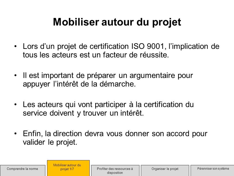 Mobiliser autour du projet Lors dun projet de certification ISO 9001, limplication de tous les acteurs est un facteur de réussite. Il est important de