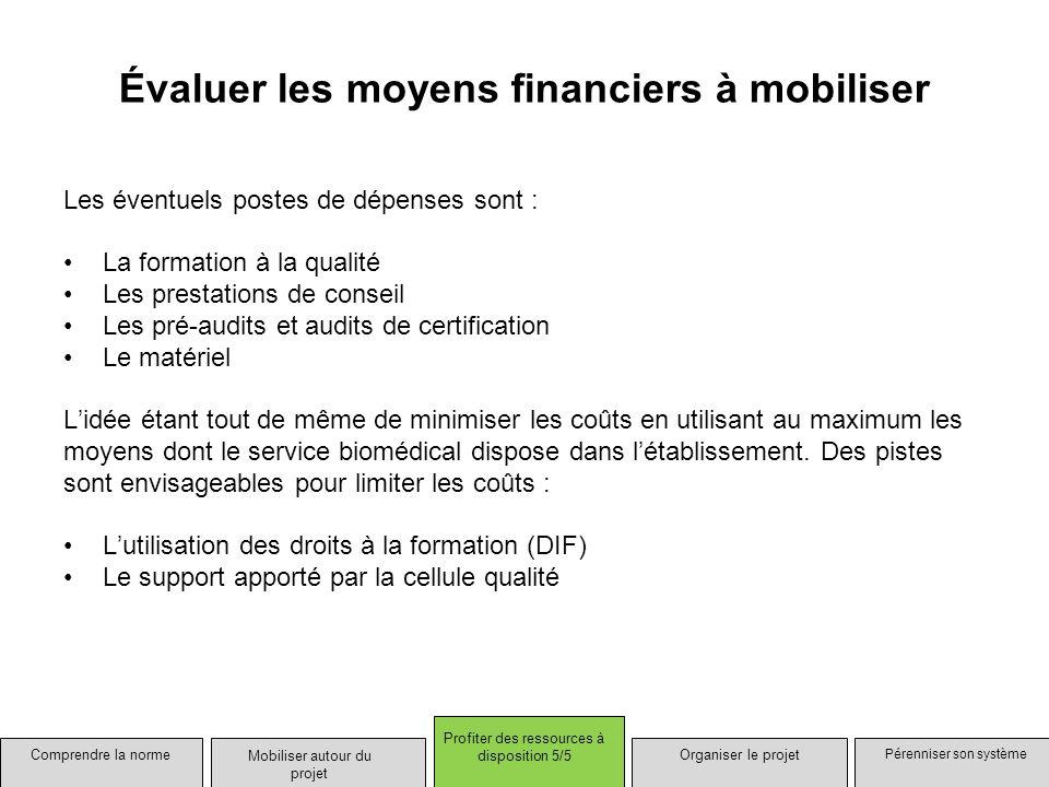 Évaluer les moyens financiers à mobiliser Les éventuels postes de dépenses sont : La formation à la qualité Les prestations de conseil Les pré-audits