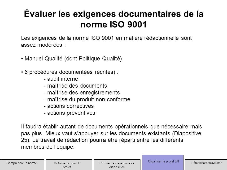 Évaluer les exigences documentaires de la norme ISO 9001 Les exigences de la norme ISO 9001 en matière rédactionnelle sont assez modérées : Manuel Qua