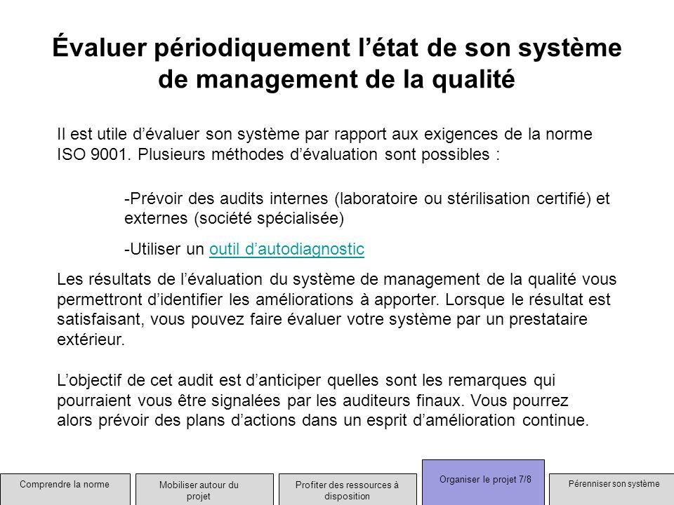 Évaluer périodiquement létat de son système de management de la qualité Il est utile dévaluer son système par rapport aux exigences de la norme ISO 90