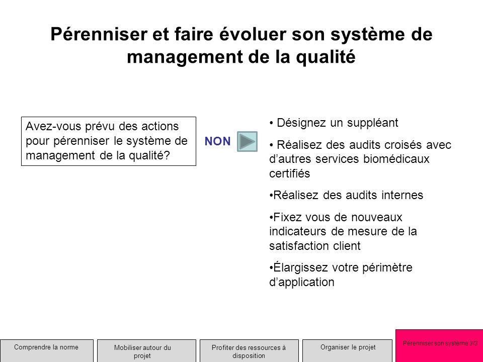 Pérenniser et faire évoluer son système de management de la qualité Avez-vous prévu des actions pour pérenniser le système de management de la qualité