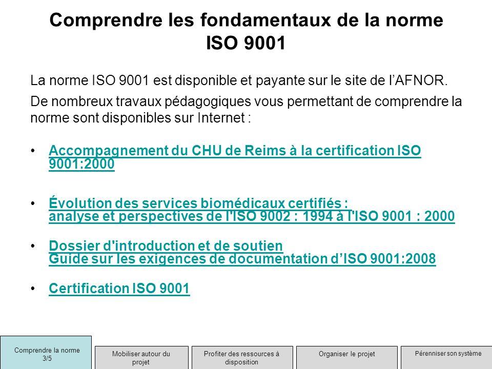 Comprendre les fondamentaux de la norme ISO 9001 La norme ISO 9001 est disponible et payante sur le site de lAFNOR. De nombreux travaux pédagogiques v