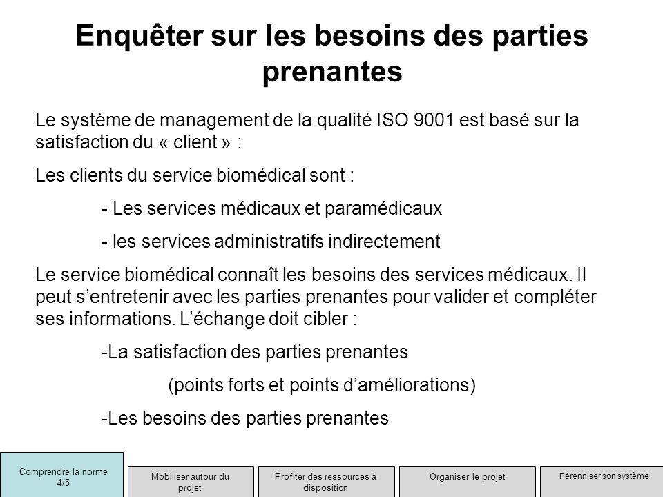 Enquêter sur les besoins des parties prenantes Le système de management de la qualité ISO 9001 est basé sur la satisfaction du « client » : Les client