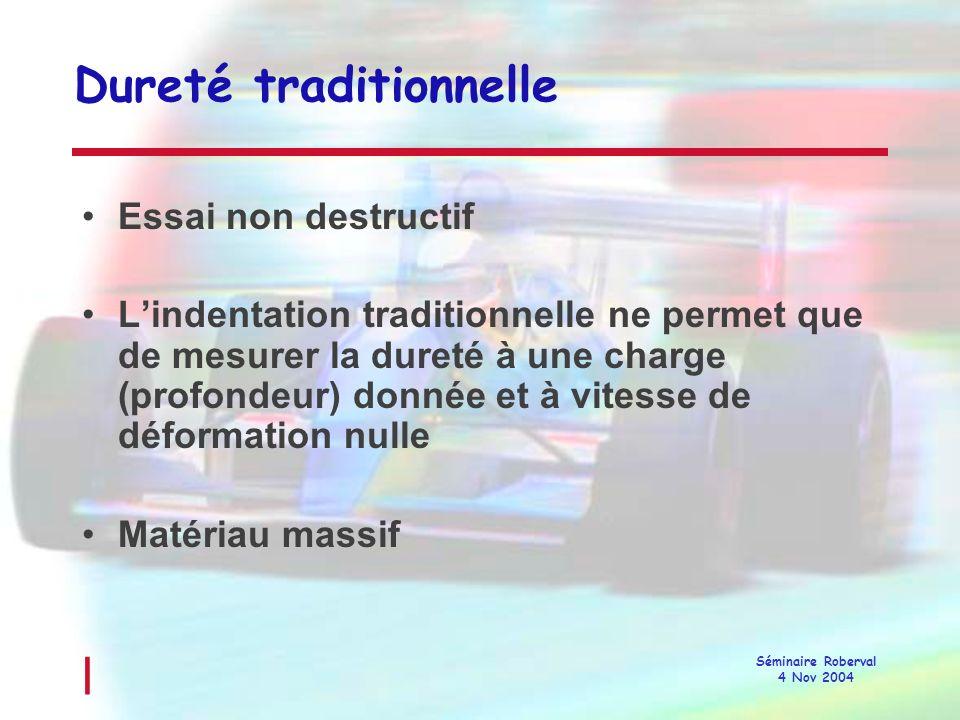 l Séminaire Roberval 4 Nov 2004 Indentation instrumentée Mesure de courbe Charge/Profondeur dindentation