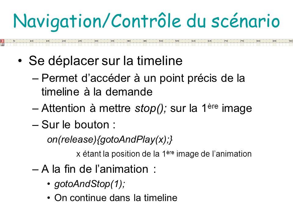 Navigation/Contrôle du scénario Se déplacer sur la timeline –Permet daccéder à un point précis de la timeline à la demande –Attention à mettre stop();