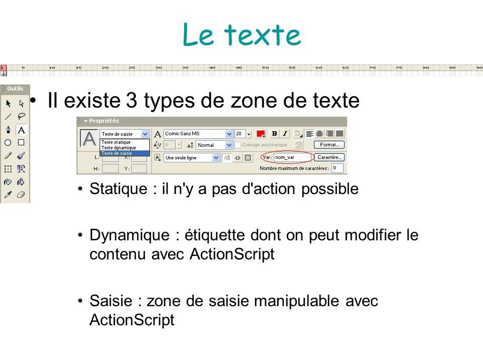Le texte Il existe 3 types de zone de texte Statique : il n'y a pas d'action possible Dynamique : étiquette dont on peut modifier le contenu avec Acti