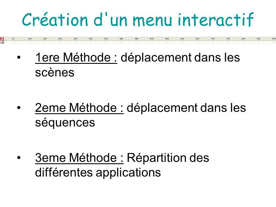 Création d'un menu interactif 1ere Méthode : déplacement dans les scènes 2eme Méthode : déplacement dans les séquences 3eme Méthode : Répartition des