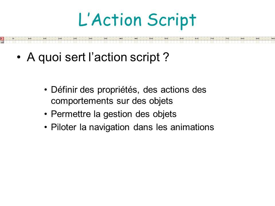 LAction Script A quoi sert laction script ? Définir des propriétés, des actions des comportements sur des objets Permettre la gestion des objets Pilot