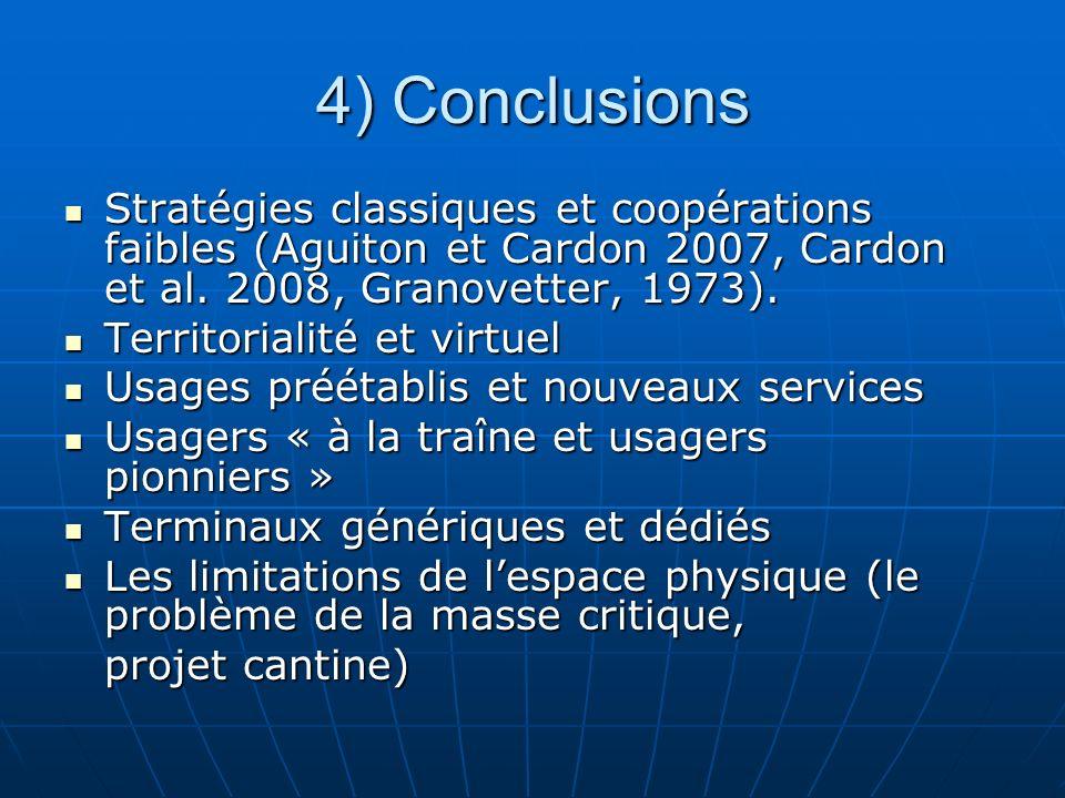 4) Conclusions Stratégies classiques et coopérations faibles (Aguiton et Cardon 2007, Cardon et al. 2008, Granovetter, 1973). Stratégies classiques et