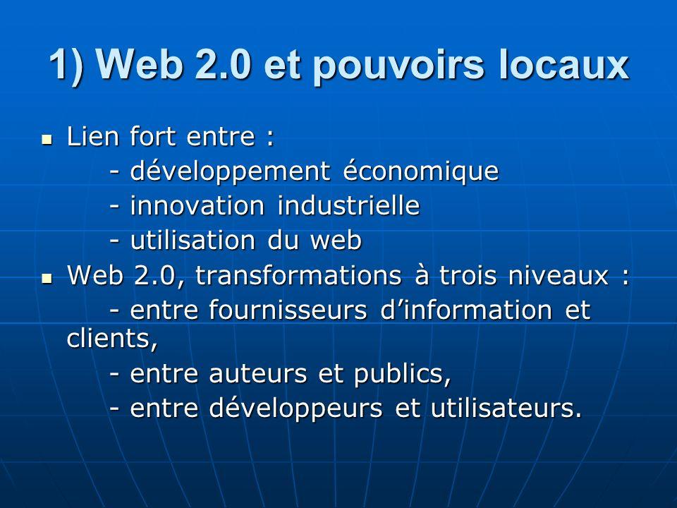 1) Web 2.0 et pouvoirs locaux Lien fort entre : Lien fort entre : - développement économique - innovation industrielle - innovation industrielle - utilisation du web Web 2.0, transformations à trois niveaux : Web 2.0, transformations à trois niveaux : - entre fournisseurs dinformation et clients, - entre auteurs et publics, - entre développeurs et utilisateurs.