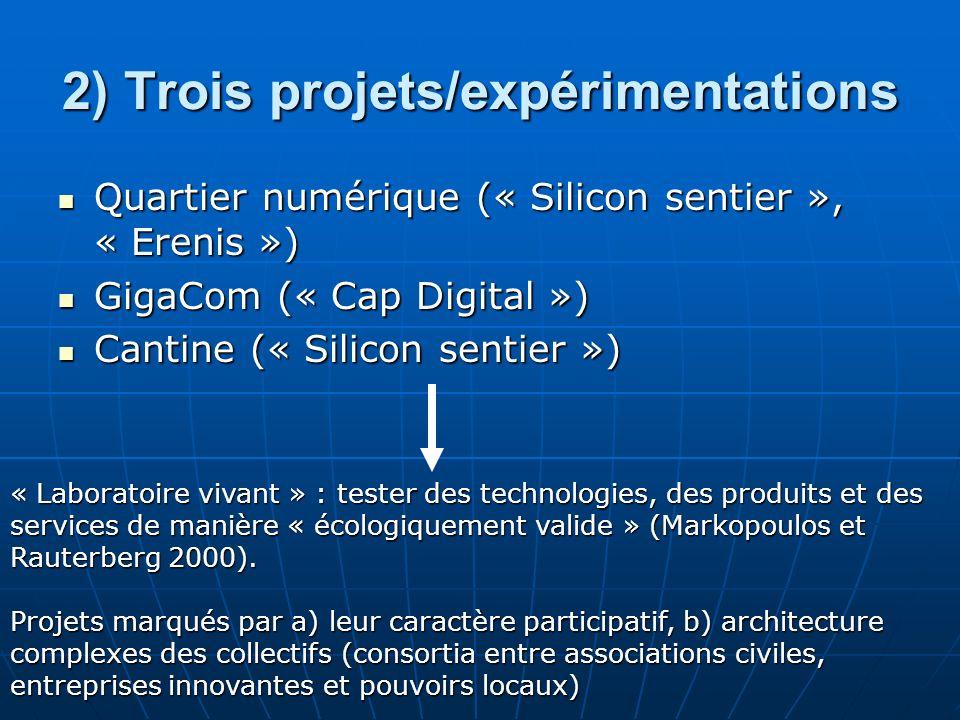 2) Trois projets/expérimentations Quartier numérique (« Silicon sentier », « Erenis ») Quartier numérique (« Silicon sentier », « Erenis ») GigaCom (« Cap Digital ») GigaCom (« Cap Digital ») Cantine (« Silicon sentier ») Cantine (« Silicon sentier ») « Laboratoire vivant » : tester des technologies, des produits et des services de manière « écologiquement valide » (Markopoulos et Rauterberg 2000).