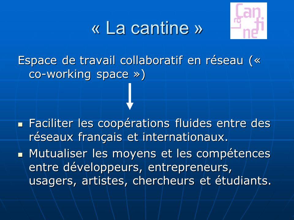 « La cantine » Espace de travail collaboratif en réseau (« co-working space ») Faciliter les coopérations fluides entre des réseaux français et internationaux.
