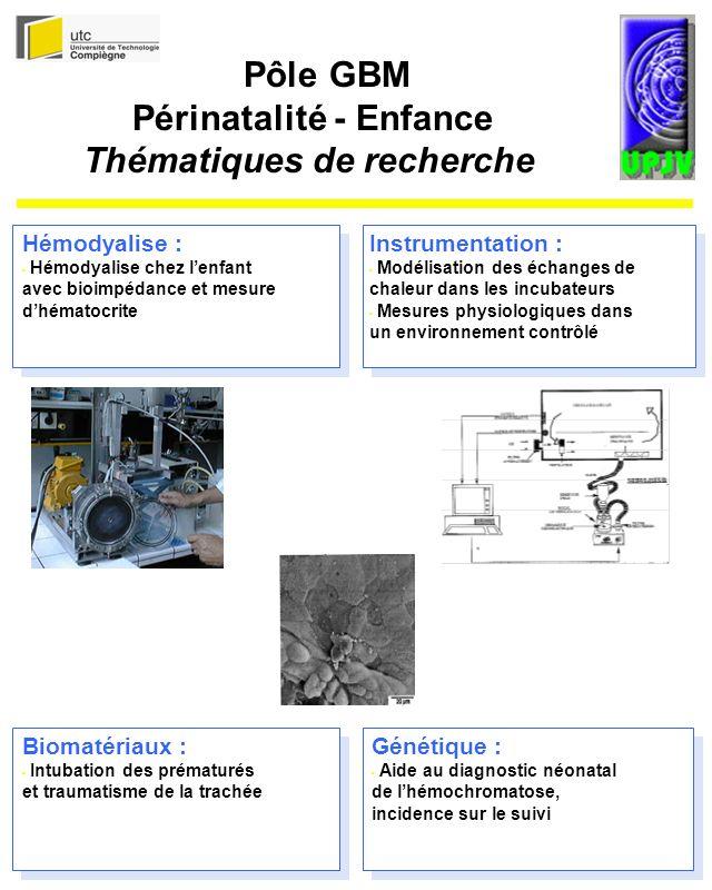 Biomatériaux : Intubation des prématurés et traumatisme de la trachée Génétique : Aide au diagnostic néonatal de lhémochromatose, incidence sur le suivi Hémodyalise : Hémodyalise chez lenfant avec bioimpédance et mesure dhématocrite Instrumentation : Modélisation des échanges de chaleur dans les incubateurs Mesures physiologiques dans un environnement contrôlé Pôle GBM Périnatalité - Enfance Thématiques de recherche