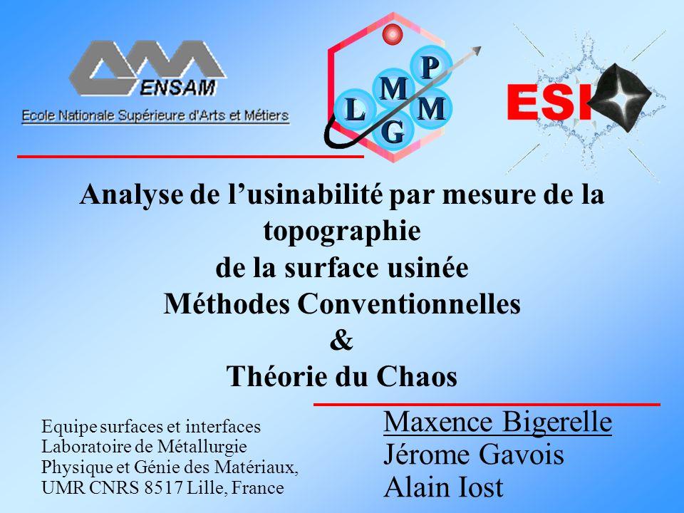 Analyse de lusinabilité par mesure de la topographie de la surface usinée Méthodes Conventionnelles & Théorie du Chaos Equipe surfaces et interfaces L
