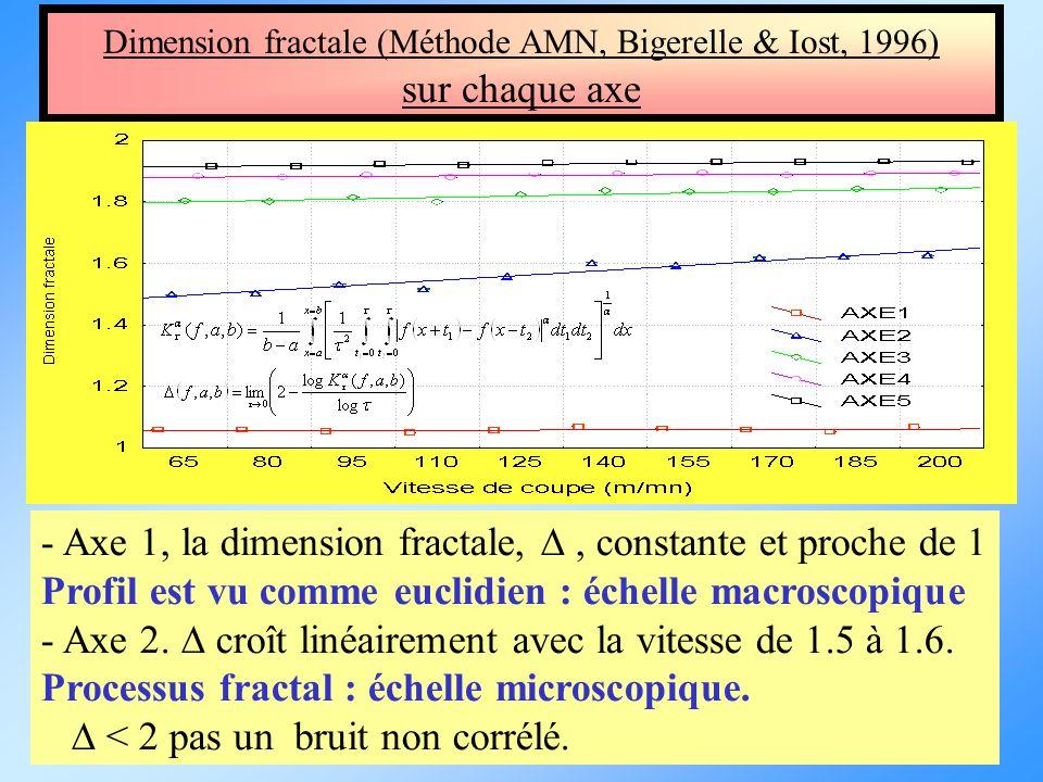 Dimension fractale (Méthode AMN, Bigerelle & Iost, 1996) sur chaque axe - Axe 1, la dimension fractale,, constante et proche de 1 Profil est vu comme