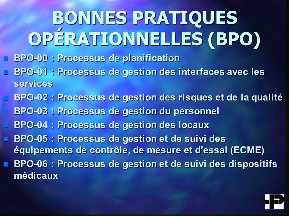 BONNES PRATIQUES OPÉRATIONNELLES (BPO) n BPO-00 : Processus de planification n BPO-01 : Processus de gestion des interfaces avec les services n BPO-02 : Processus de gestion des risques et de la qualité n BPO-03 : Processus de gestion du personnel n BPO-03 : Processus de gestion du personnel n BPO-04 : Processus de gestion des locaux n BPO-05 : Processus de gestion et de suivi des équipements de contrôle, de mesure et d essai (ECME) n BPO-06 : Processus de gestion et de suivi des dispositifs médicaux