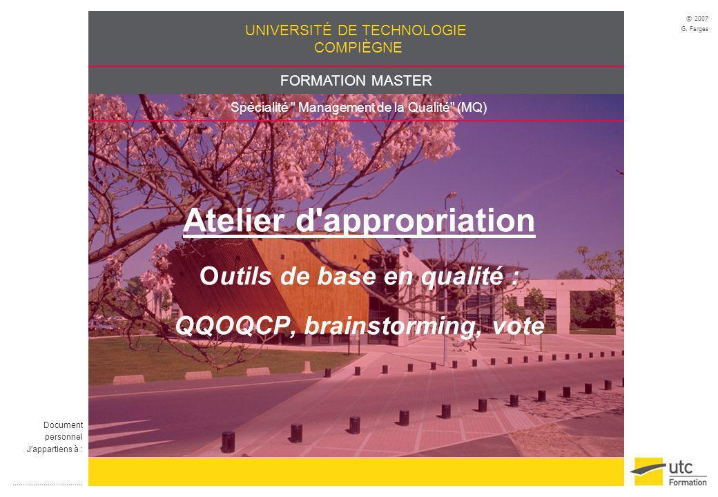 UNIVERSITÉ DE TECHNOLOGIE COMPIÈGNE FORMATION MASTER Spécialité