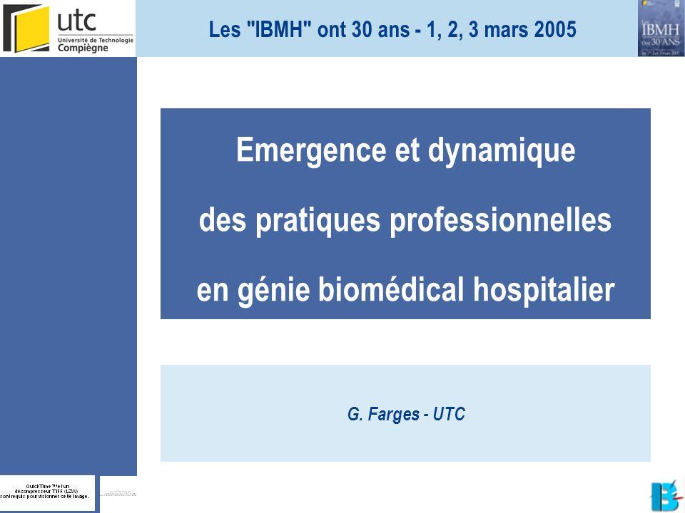 Emergence et dynamique des pratiques professionnelles en génie biomédical hospitalier G. Farges - UTC Les
