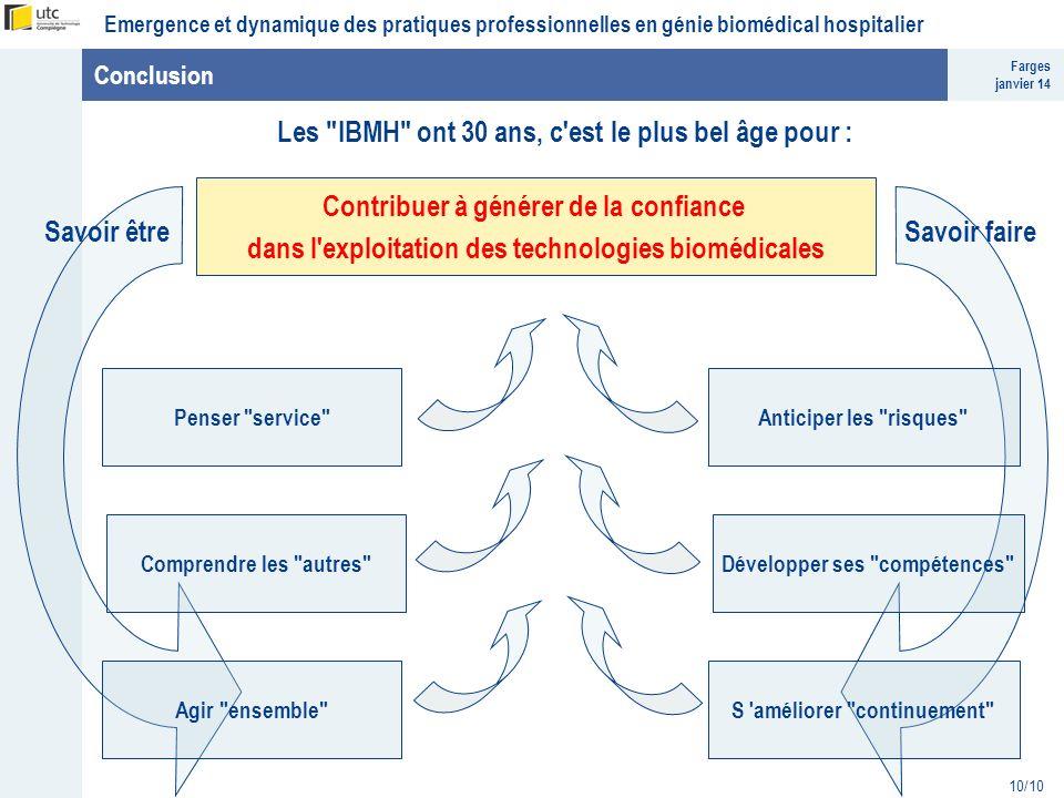 Farges janvier 14 Emergence et dynamique des pratiques professionnelles en génie biomédical hospitalier 10/10 Conclusion Les