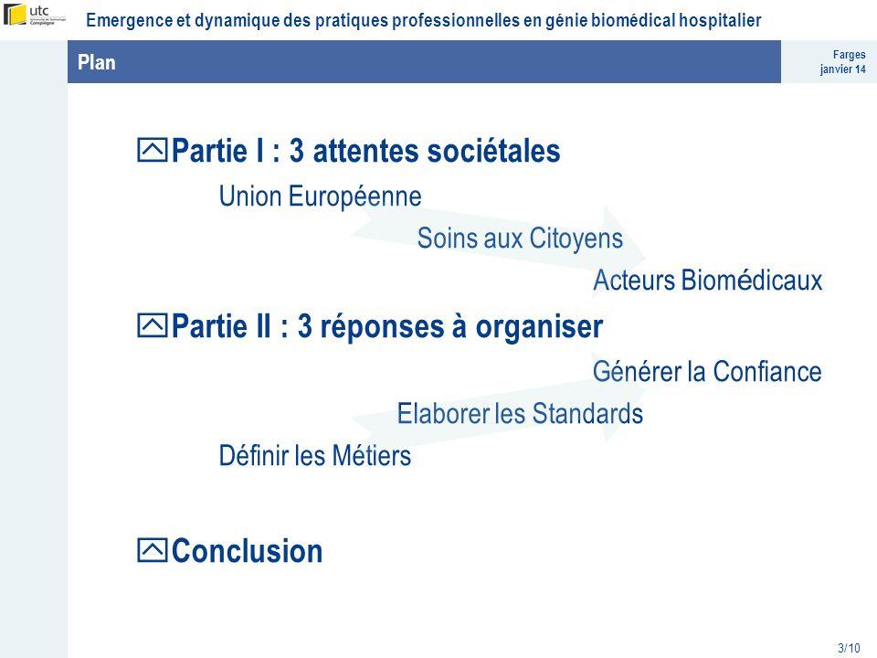 Farges janvier 14 Emergence et dynamique des pratiques professionnelles en génie biomédical hospitalier 3/10 Plan y Partie I : 3 attentes sociétales U