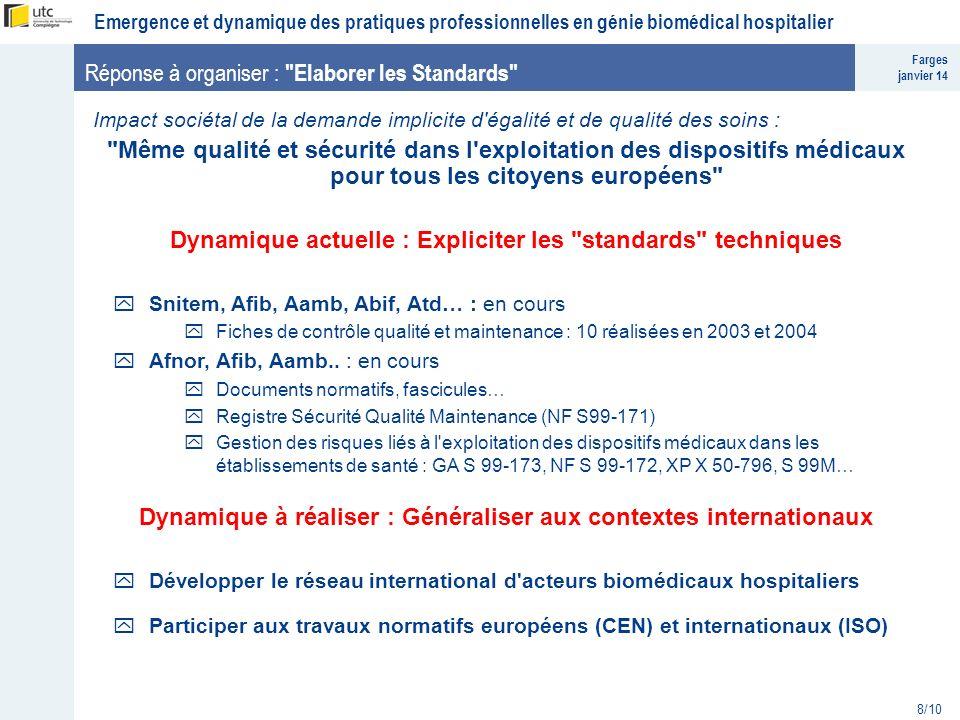 Farges janvier 14 Emergence et dynamique des pratiques professionnelles en génie biomédical hospitalier 8/10 Réponse à organiser :