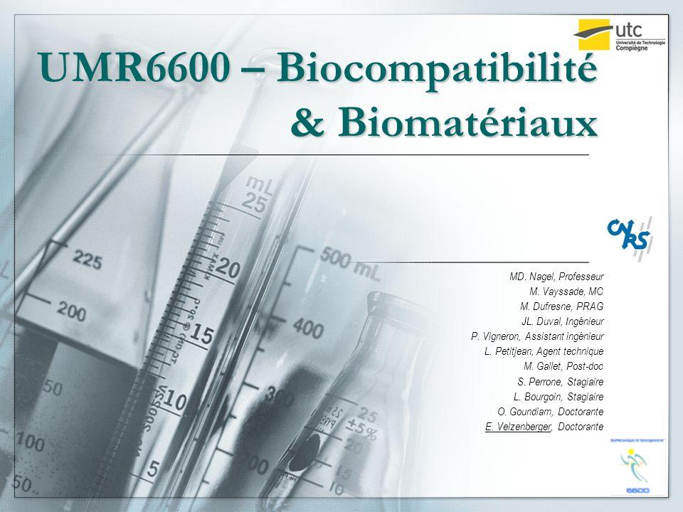 UMR6600 – Biocompatibilité & Biomatériaux MD. Nagel, Professeur M. Vayssade, MC M. Dufresne, PRAG JL. Duval, Ingénieur P. Vigneron, Assistant ingénieu