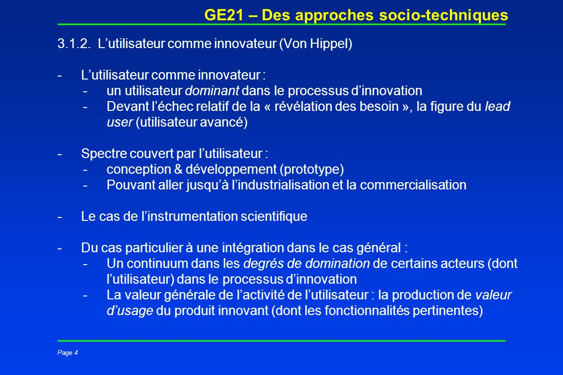 Page 4 GE21 – Des approches socio-techniques