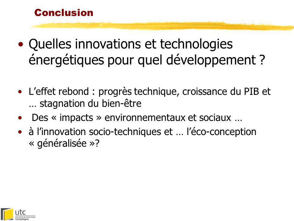 Conclusion Quelles innovations et technologies énergétiques pour quel développement ? Leffet rebond : progrès technique, croissance du PIB et … stagna