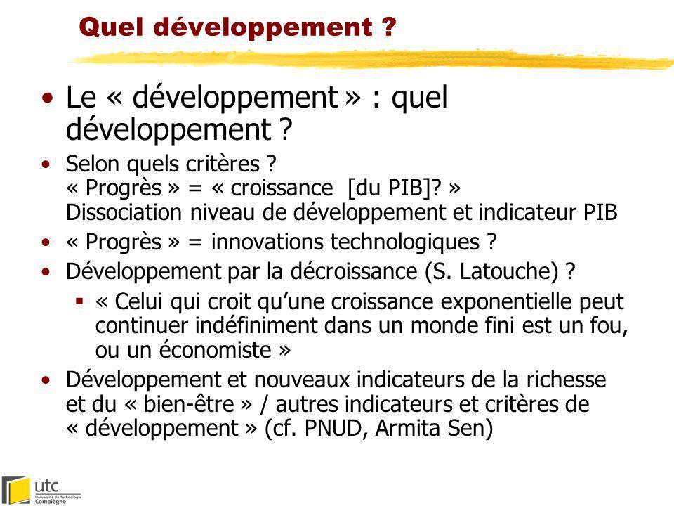 Quel développement ? Le « développement » : quel développement ? Selon quels critères ? « Progrès » = « croissance [du PIB]? » Dissociation niveau de