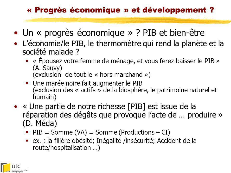 « Progrès économique » et développement ? Un « progrès économique » ? PIB et bien-être Léconomie/le PIB, le thermomètre qui rend la planète et la soci