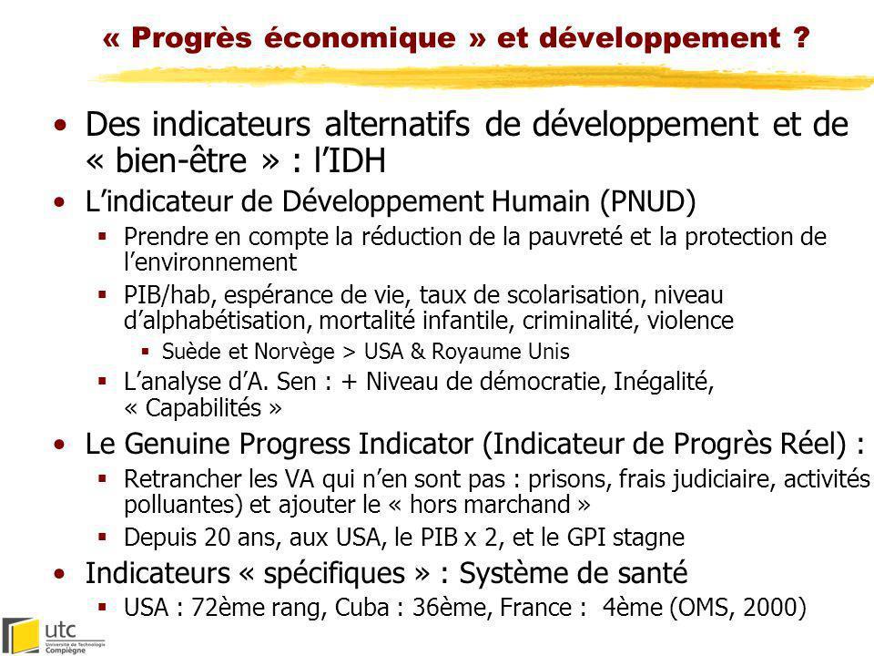 « Progrès économique » et développement ? Des indicateurs alternatifs de développement et de « bien-être » : lIDH Lindicateur de Développement Humain